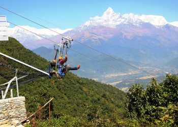 Zip flyer in Sarangkot, Pokhara, Nepal