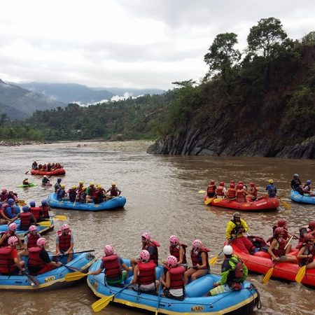 Group of rafters White Water Rafting in Trishuli River