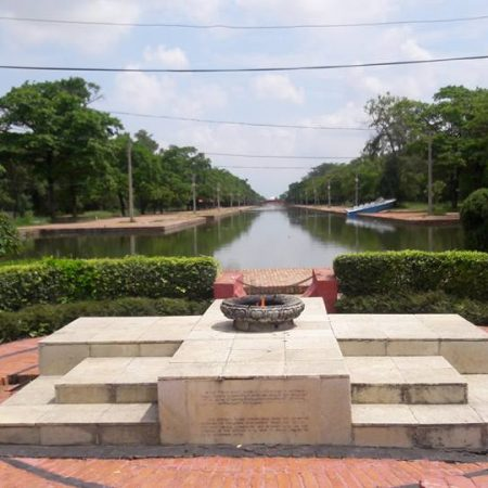 Peace flame in birthplace of Lord Buddha in Lumbini, Nepal