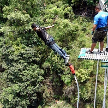 Man bungee jumping in Bhote Koshi, Nepal