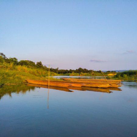 Boats in Rapti River inside Chitwan National Park, Nepal