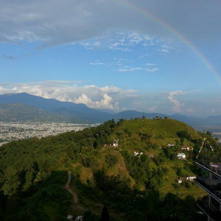 Rainbow seen from World Peace Pagoda Pokhara, Nepal