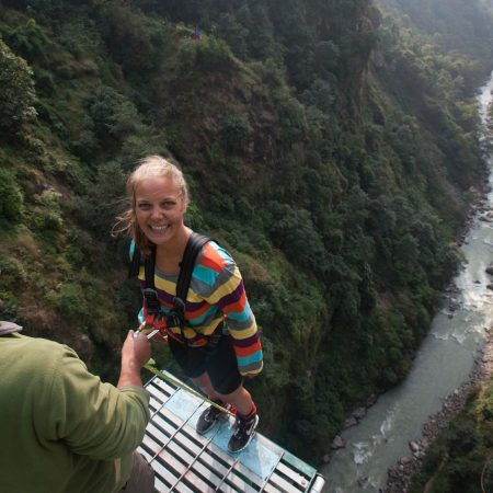 White woman ready for bungee jumping in Bhote Koshi