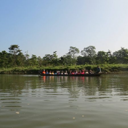 Tourists boating in Rapti River inside Chitwan National Park, Nepal