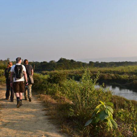 3 tourists in Chitwan for wildlife safari