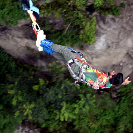 Person bungee jumping in Bhote Koshi