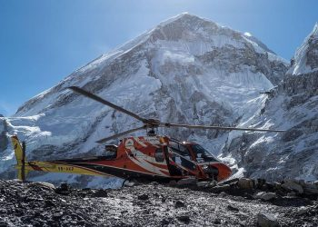 Landed helicopter in Everest Base Camp