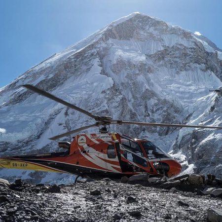 Landed helicopter in Everest Base Camp