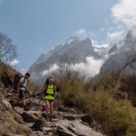 Descending trial in Annapurna Sanctuary Trek