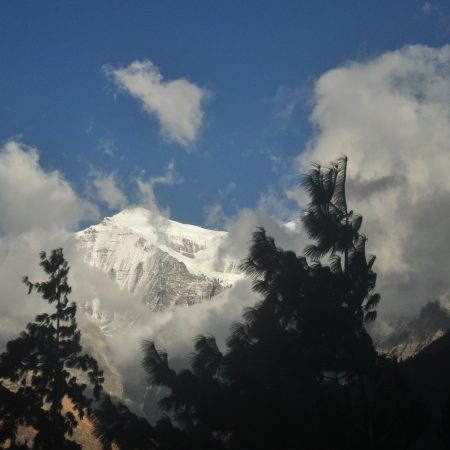Mountain view of Gangapurna mountain from Annapurna Circuit