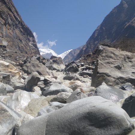 Marsyangdi river bank