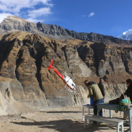 Helicopter near tea house in Annapurna Base Camp area