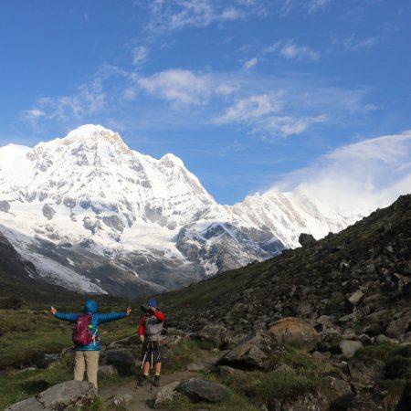 Trekkers in Annapurna Sanctuary