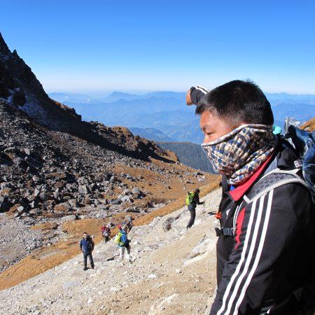 Trekking guide posing for photo during Khopra trek