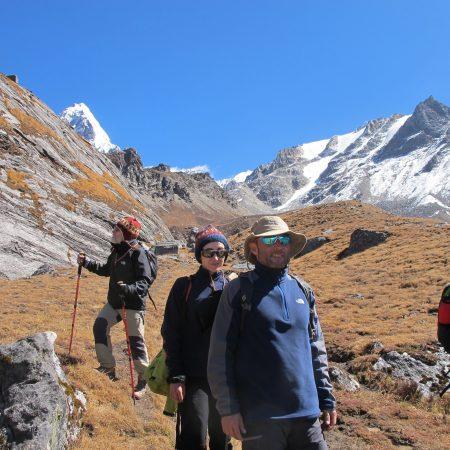 Trekkers walking downhill after Annapurna-Dhaulagiri Trek
