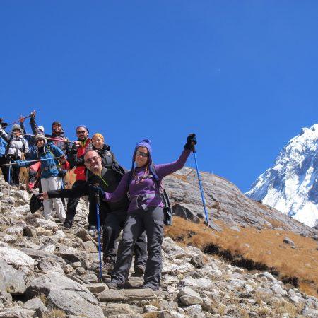 Group of trekkers on rocky road during Annapurna-Dhaulagiri trek