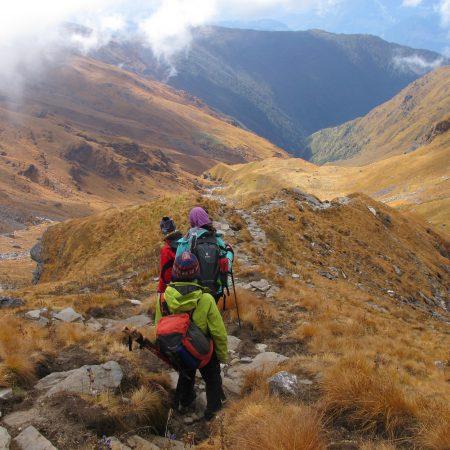 Trekkers in rocky road during Annapurna-Dhaulagiri trek
