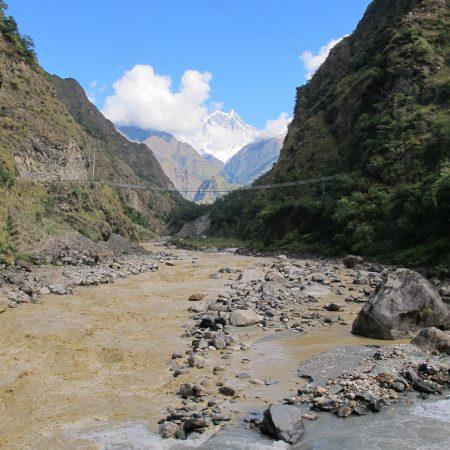 Marsyangdi river bank on the way to Annapurna-Dhaulagiri Trek