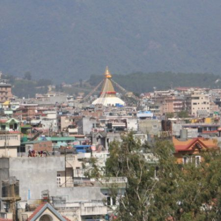 Boudhanath in the middle of Kathmandu valley