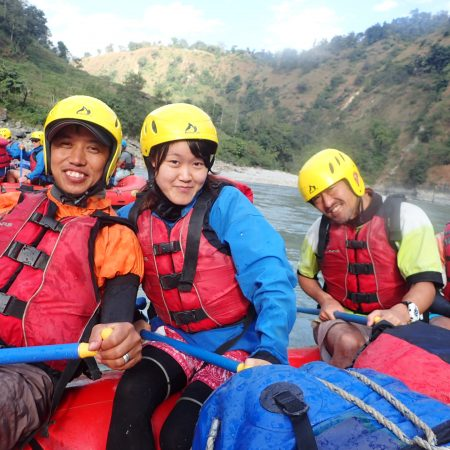 Foreign rafter posing for photo during White Water Rafting in Lower Seti River