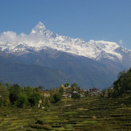 View of Mount Fishtail from Tangting Village